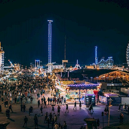 View from the Bavaria over the Wiesn at night